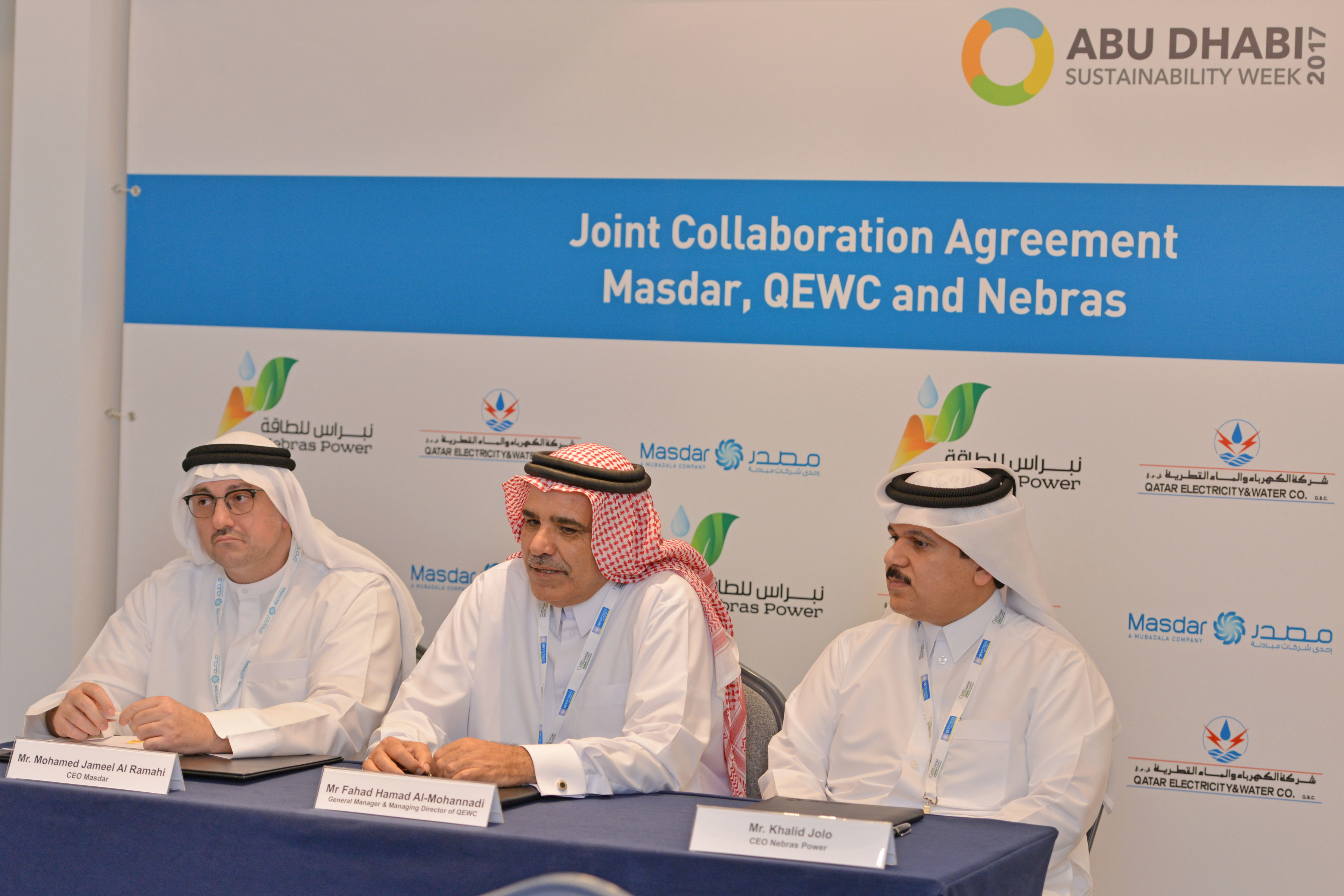 Nebras Power and QEWC Signs Cooperation Agreement with Masdar
