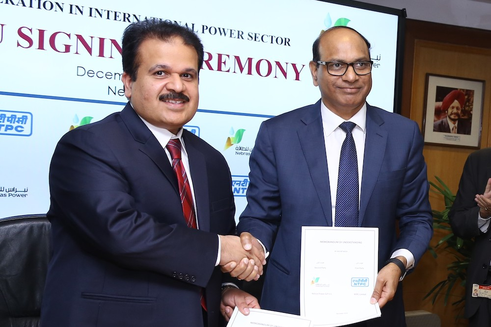 Nebras Power has signed an MOU with the National Thermal Power Corporation Limited (NTPC)